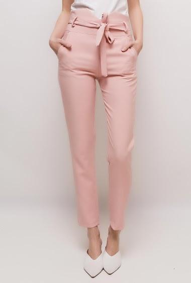KAIA pantalon à taille haute froncée<