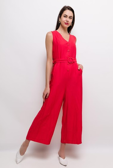 Sleeveless jumpsuit, wide leg pants, belt. The model measures 175cm and wears S. Length:135cm