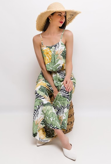 Printed jumpsuit, straps. The model measures 175cm, one size corresponds to 8/10/12(UK) 36/38/40(FR). Length:150cm