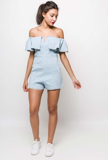 Frill playsuit. The model measures 170cm and wears M. Length:70cm