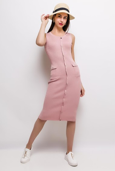 Knit sleeveless dress, button front, close fit. The model measures 175cm, one size corresponds to 8/10(UK) 36/38(FR). Length:110cm