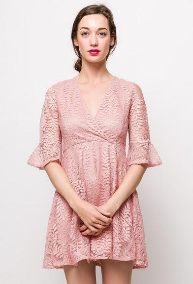 Skater dress, cross V neck, transparent back, zip closure. The model measures 177cm and wears S. Length:85cm