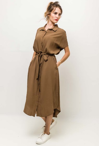 Dress with belt and pockets. The model measures 170cm, one size corresponds to 10/12(UK) 38/40(FR). Length:125cm