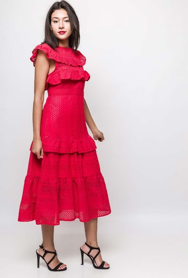 Frill midi dress in cotton. The model measures 170cm and wears M. Length:120cm