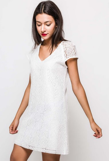 Short sleeve dress, V neck. The model measures 170cm and wears M. Length:85cm