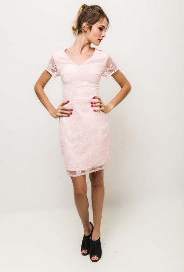 Short sleeve dress, lace-up back. The model measures 170cm and wears M/L. Length:90cm