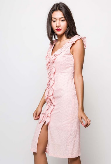 Cotto midi dress. The model measures 170cm and wears M. Length:105cm