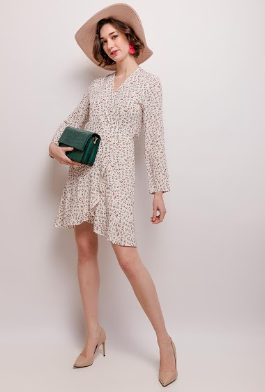 Wrap dress with printed flowers. The model measures 177cm and wears S