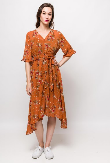 Dress with printed flowers, button closure, asymmetric hem, black lining. The model measures 177cm, one size corresponds to 10/12(UK) 38/40(FR). Length:110cm