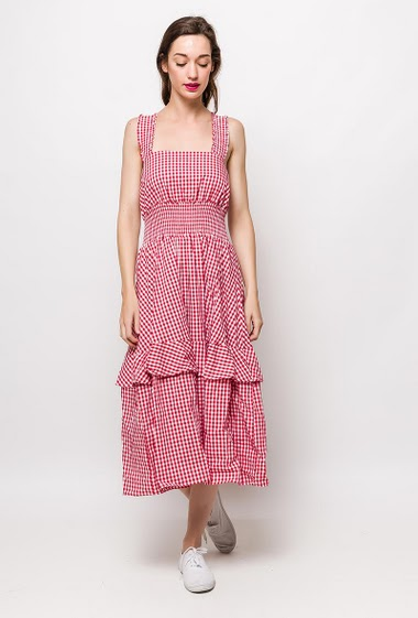 Gingham dress, ruffles. The model measures 177cm and wears S. Length:120cm