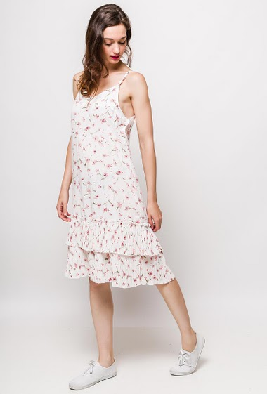 Strappy dress, printed flowers, pleated border. The model measures 177cm, one size corresponds to 10/12(UK) 38/40(FR). Length:105cm
