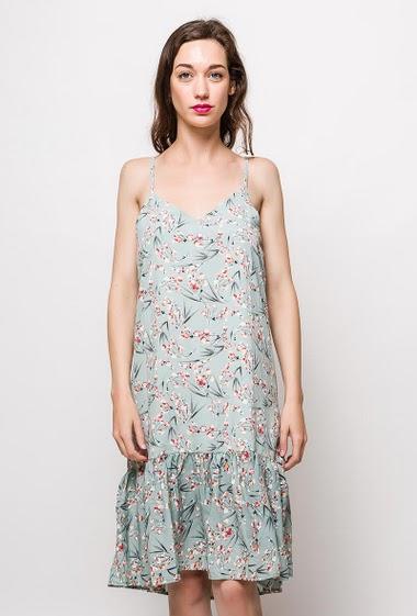 Robe à bretelles, fleurs imprimées, bordure volantée. La mannequin mesure 177cm, TU correspond à 38/40. Longueur:110cm