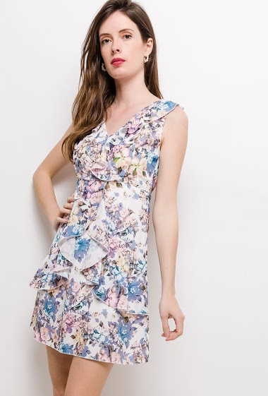 Flared dress, ruffles, printed flowers. The model measures 178cm and wears S. Length:85cm