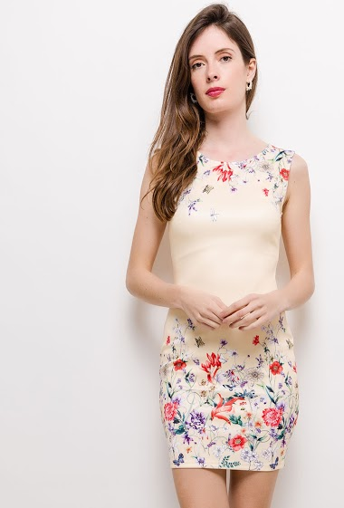 Sleeveless dress, printed flowers, close fit. The model measures 178cm and wears S. Length:85cm