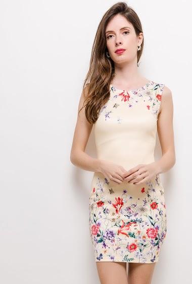 Robe sans manches, fleurs imprimées, coupe près du corps. La mannequin mesure 178cm et porte du S. Longueur:85cm