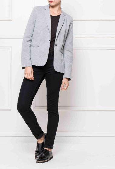 Fleece blazer, lining with stripes, fancy buttons