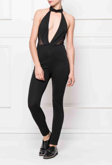 Jumpsuit with open back, low neckline on the front