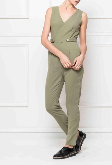 Jumpsuit with gold buttons on the front