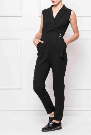 Wrap jumpsuit with buckle on the side,fitted at the waist