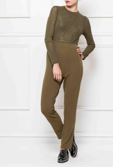 Bi-material jumpsuit decoratedwith strass on the front, zip on the back