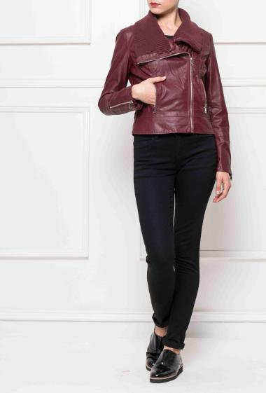 Jacket in imitation leather, pockets, collar in ribbed knit