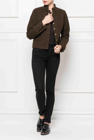 Velvet jacket, fancy buttons, mandarin collar