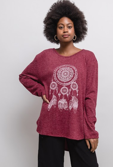 Sweater with printed dreamcatcher.  The model measures 174cm, one size corresponds to 14/16(UK) 42/44(FR). Length:78cm