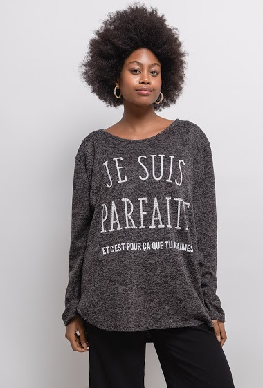 Sweater with printed message