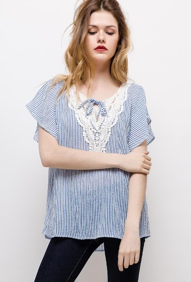 Short sleeve blouse, lace. The model measures 171cm and wears M. Length:70cm(back)