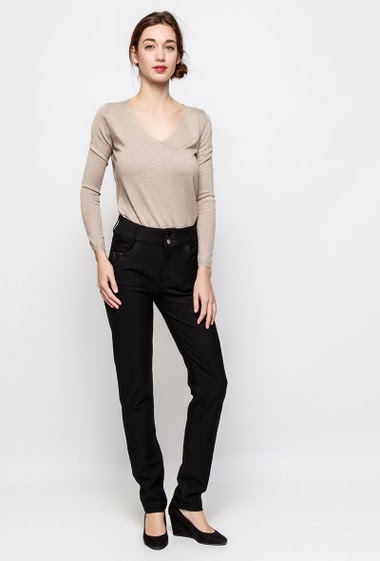 Stretch pants, fancy pockets, skinny fit. The model measures 177cm and wears T38 - Brand SOO - T0/XS/36 - T1/S/38 - T2/M/40 - T3/L/42 - T4/XL/44