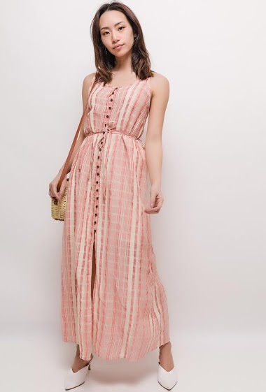 trappy maxi dress, button front. The model measures 170cm and wears M. Length:130cm