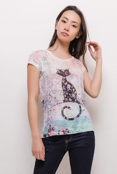 Short sleeve t-shirt, cat and strass. The model measures 170cm and wears M. Length:60cm