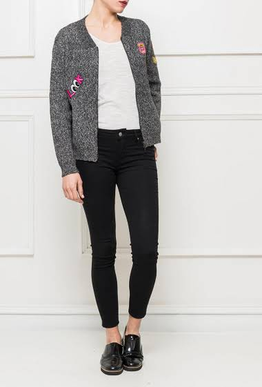 Knit cardigan with embroidered badges, zipped closure