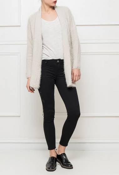 Soft knit cardigan, shawl collar, casual fit