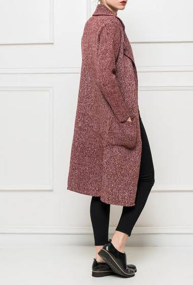 Chunky knit long cardigan, closure with press studs