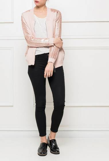 Cardigan with sequined sleeves, pockets, zipped closure