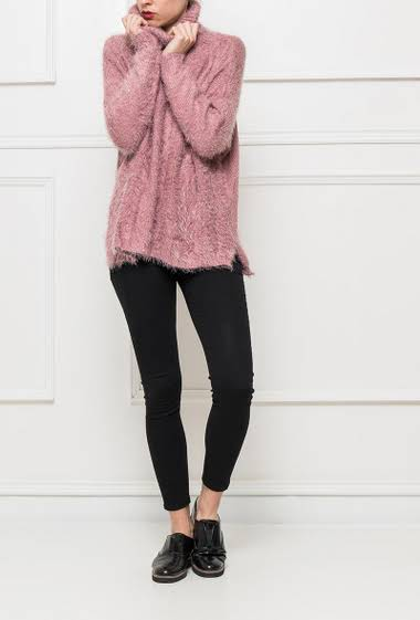 Soft knit sweater with turtleneck