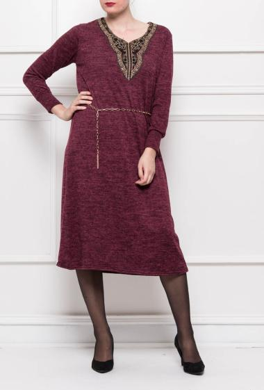 Knit dress, collar decorated with gold lace (One size=48/50)