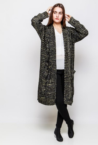 Open cardigan, thick knit with lurex, decorative eyelets, long fit. The model measures 172cm and wears S/M