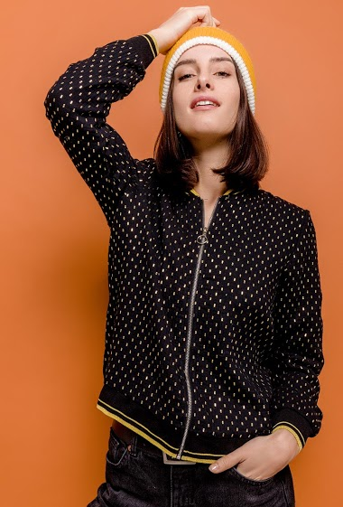 Bomber with gold polka dots, striped ribs. The model measures 176cm and wears S/M. Length:54cm
