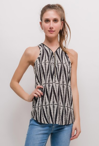 Sleeveless top, V neck with zip. The model measures 170cm and wears S/M. Length:65cm