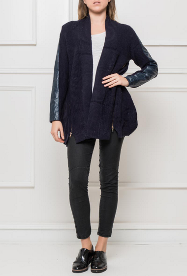Open cardigan in knit with sleeves in imitation leather, zip on the sides