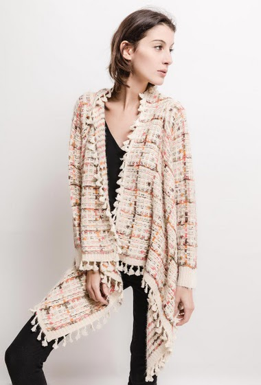 Cardigan in tweed effect knit, tassels. The model measures 178cm, one size corresponds to 10/12(UK) 38/40(FR). Length:75cm