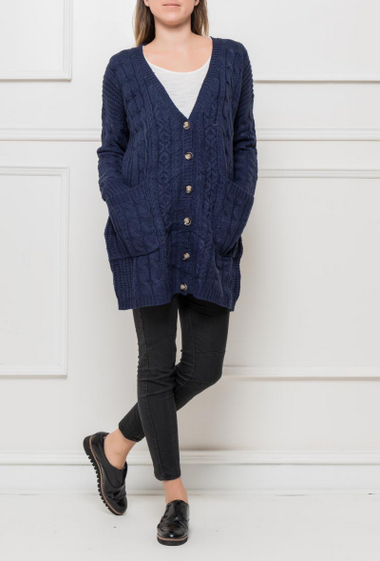 Casual cardigan in knit with twists, pockets