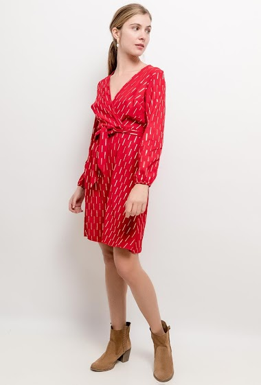 Dress with gold pattern. The model measures 173cm and wears S/M. Length:86cm
