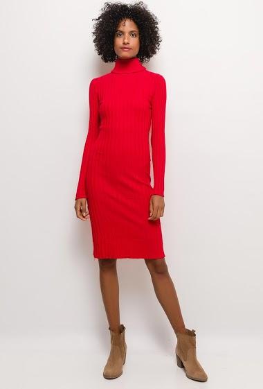 Turtleneck dress, ribbed knit, slim fit. The model measures 177cm and wears M/L. Length:105cm