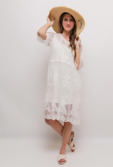 Transparent dress, sold without lining. The model measures 170cm, one size corresponds to 10/12(UK) 38/40(FR). Length:100cm
