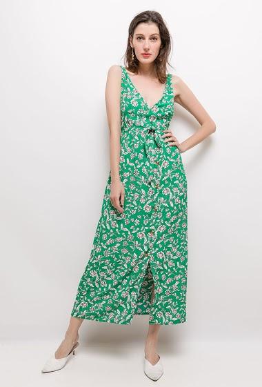 Robe sans manches, fleurs imprimées. La mannequin mesure 178cm et porte du S/M. Longueur:135cm