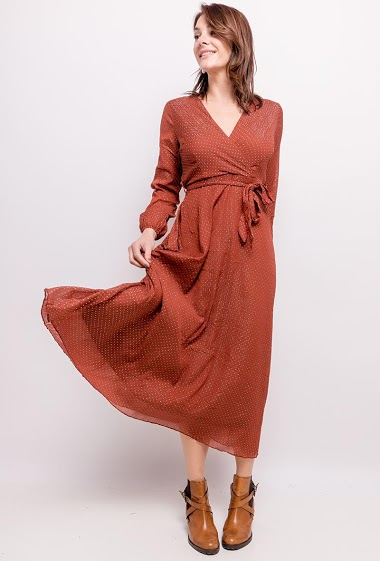 Dress with gold pattern. The model measures 175cm and wears S/M. Length:132cm