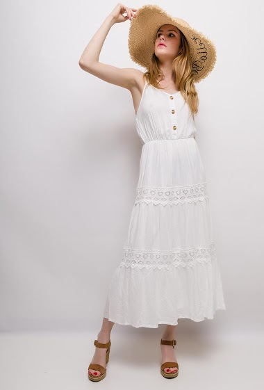 Strappy dress, lace detail. The model measures 171cm and wears S/M. Length:130cm